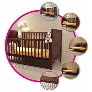 Wudplay Arum Teak Wood Sliding Rail Crib, Toddler Bed, Cot and Deewan (Walnut Finish)