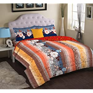 Portico New York Cadence Cotton Double Bedsheet with 2 Pillow Covers - Blue And Orange (9043241)