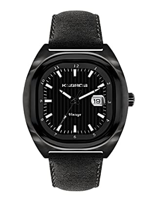 K&BROS 9451-1 / Reloj de Caballero  con correa de piel Negro