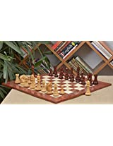 Chessbazaar Combo Of French Warrior Luxury Chess Set In Bud Rose & Box Wood And Red Ash Burl And Maple Board