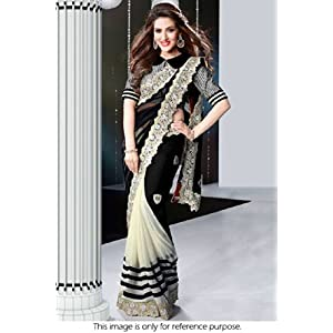 Bollywood Replica Model Georgette Saree In Black and White Colour NC506