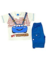 Boogie Woogie Yok-807-B Boy's Cotton T-Shirt & Shorts Set - (White) - (Size - 18)