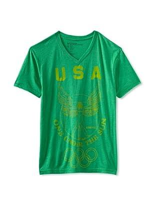 Kinetix Men's USA V-Neck Tee Shirt (Forest green)