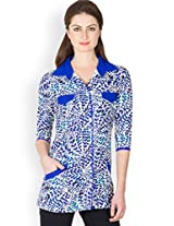 Ayaany Blue Cotton Top for Women (Size: X-Large)
