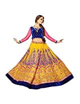 Manvaa Yellow And Blue Net Embroidery work Lehenga Choli