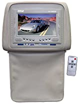 Pyle PL72HRTN Adjustable Headrests w/ Built-In 7'' TFT/LCD Monitor W/IR Transmitter & Cover (Tan)