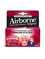 Schiff Airborne Immune Support Supplement with Vitamin C, Effervescent Formula, Berry, 10 Count