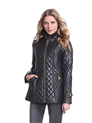Via Spiga Women's Fitted Quilted Jacket (Black)