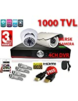 4 CH HD DVR 1 36 LED MERSK DOME CAMERA 1000TVL 1 MERSK BULLET CAMERA 1000TVL +4 BNC+FREE HDMI CABLE (NOTE:: NO HARD DISK)
