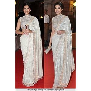 Bollywood Replica Sonam Kapoor 60 Gram Georgette Saree In Off White Colour TM-41