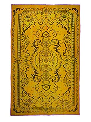 nuLOOM One-of-a-Kind Hand-Knotted Overdyed Medallion Rug, Mustard, 5' 6