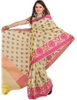 Exotic India Mellow-Yellow Saree from Banaras with Woven Bootis All-Ove - Yellow