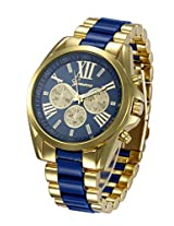 Geneva Men's collection Stainless steel strap Blue color dial Mens watch