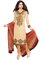 Vaamsi Women's Cotton Unstitched Dress Material (Cocp7 _Beige _Free Size)