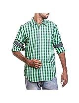 Urban Polo Club Green Multicolored Shirt Medium- Full Sleeve