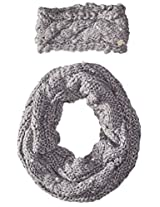 Betsey Johnson Women's Knit Pearly Girl Infinity Scarf with Headband Set