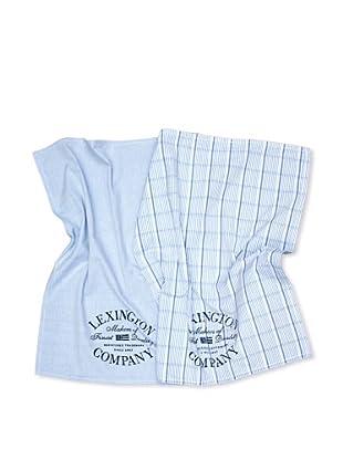 Lexington Company Set de 2 Paños Liso Y Rayas (Azul / Blanco)