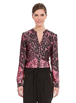 Cortefiel Camisa Print Encaje (Rosa / Negro)