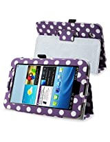 eForCity Leather Case with Stand Compatible with Samsung Galaxy Tab 2 7.0 P3100/ P3110 Purple/ White Polka Dot
