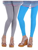 Nakhrali Women's Cotton Slim Fit Elite Ankle Length Leggings ( Pack of 2) (NKE-AL-CP03, Turquoise , Grey, XX-Large)