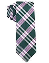Scott Allan Men's 100% Silk Plaid Necktie - Forest Green/Lavender Purple