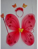 Fairy Butterfly Wings Costume for Baby Girl Angel for Birthday Party Gift (Red)