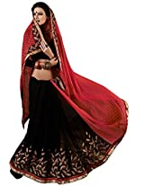 Faux Georgette Black & Red Colour Saree for Party Wear