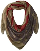 D&Y Women's American Flag Oblong Scarf, Olive, One Size