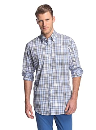 TailorByrd Men's Plaid Button-Front Shirt (Light Blue/Grey)