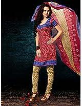 Crepe Printed Red Unstitched Churidar Suit - BNJ3016