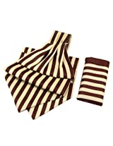 Orosilber Chocolate with Cream Candy Strip Cravats with Pocket Square
