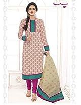 SGS Printed Cotton Unstitched Regular Fit Salwar Suit (Pink_Free Size)