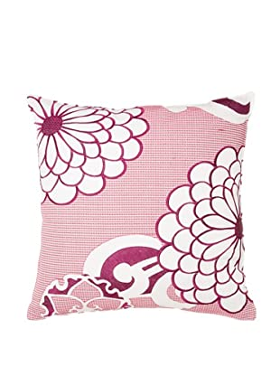 Trina Turk Chevron Dots Flower Pillow, White/Fuchsia, 20