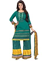 Indiankala4u Women Cotton Embroidered Dress Material , Emerald Green