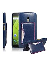Excelsior Premium Leather Card Holder Cover Case for Motorola Moto X Play - Blue