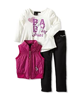 Baby Phat Girl's 2-6X 3-Piece Pant, Puffer Vest and Tunic Set (Black)