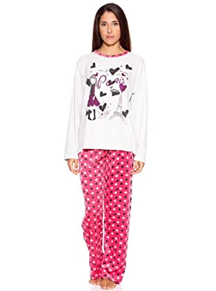Bluedreams Pijama Señora Tundosado (Blanco / Rosa)