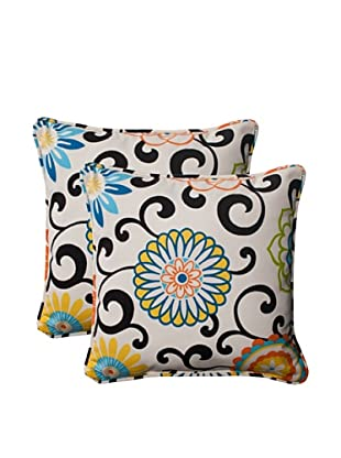 Pillow Perfect Set of 2 Indoor/Outdoor Pom Pom Play Lagoon Throw Pillows, Black/Blue