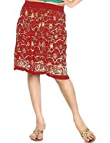 Exotic India Midi-Skirt With Embroidered Sequins and Printed Flowers - Color ScarletGarment Size Free Size