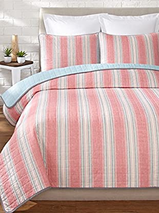 Nautica Guthrie Stripe Quilt Set (Red)