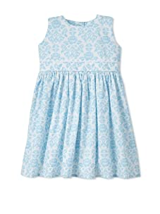 Noa Lily Girl's Damask with White Ric Rac Dress (White/Blue)
