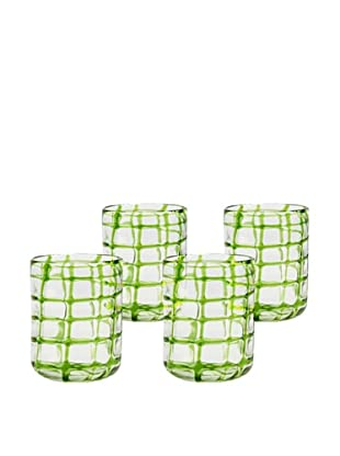 Abstract Rocks Hand-Crafted Glass, Green, Set of 4