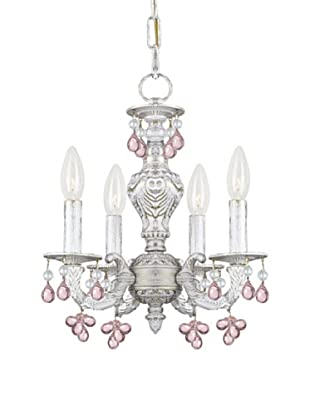 Gold Coast Lighting Paris Flea Market Collection 4-Light Mini-Chandelier, Antique White Finish with Rose Hand Cut Crystals