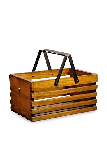 Antique Revival Slat Wood Storage Caddy (Natural Pine)