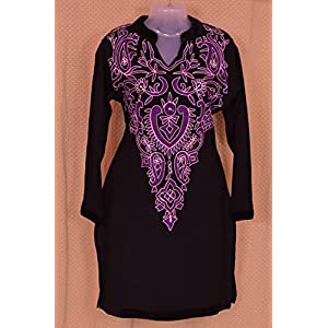 Indian Treasures Boutique Embroidered Kurti - Black