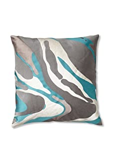 Trina Turk Embroidered Jungle Pillow (Turquoise)