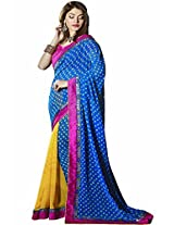 Pagli blue with yellow half-half printed georgette saree.