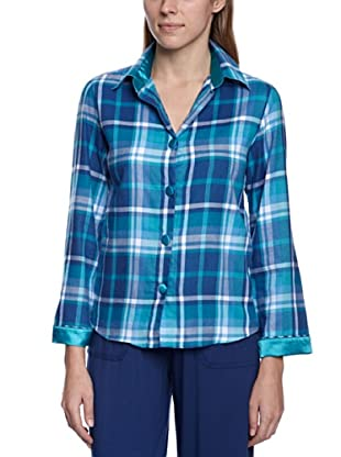 Cyberjammies Camisa De Pijama Monets Storm Checks (Turquesa / Azul)