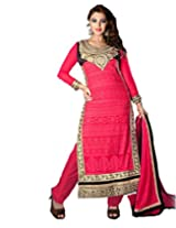 Inddus Exclusive Women Coral Colored Unstitched Salwar Kameez