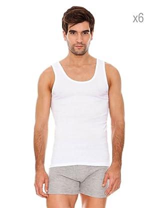 ABANDERADO Pack x 6 Camisetas De Tirantes Sport (Blanco)